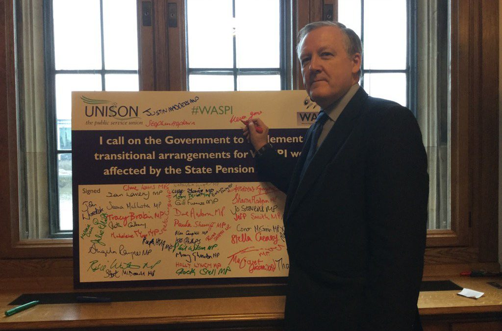 Kevan supports WASPI Campaign