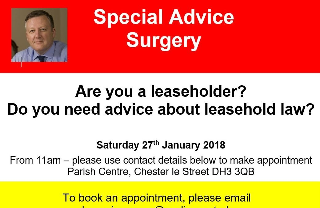 Kevan is holding a Special Advice Surgery on Leasehold Law