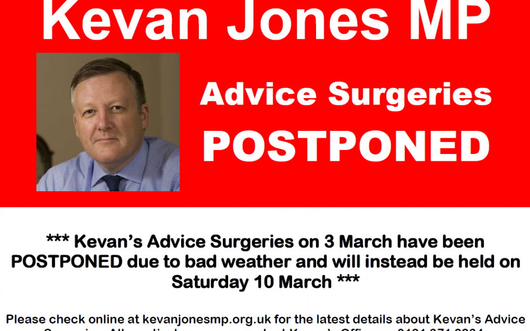 Advice Surgeries 3 March – Postponed