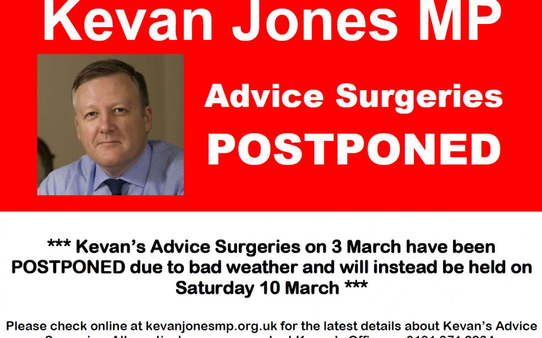 Advice Surgeries 3 March – Postponed