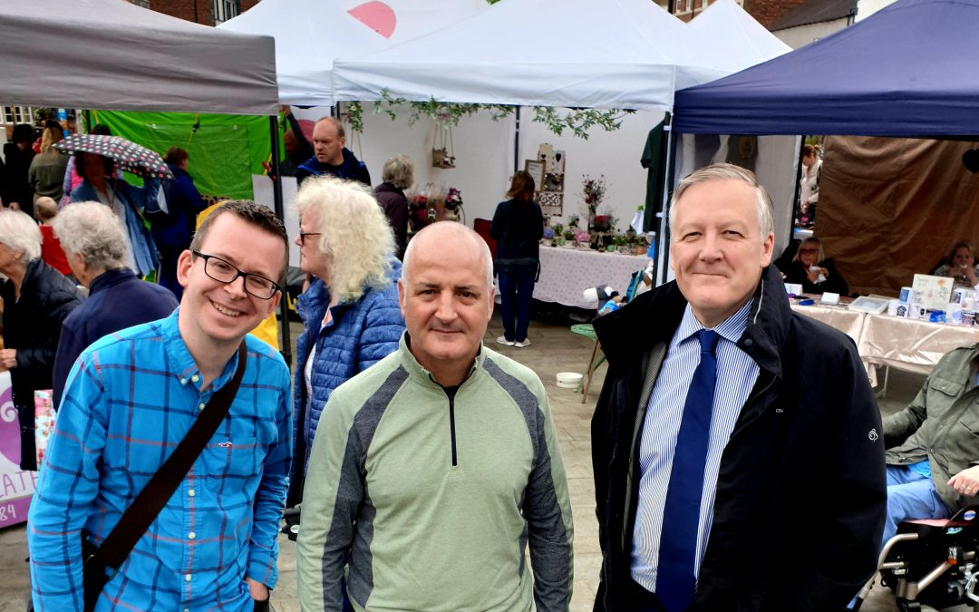 Kevan Jones MP at the new Market in Chester-le-Street with Cllr Paul Sexton